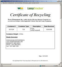 Recycling Certificate Waste Management